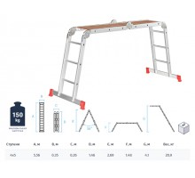 Лестница алюм. многофункц. трансформер 4х5 ступ. с помостом,