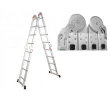 Лестница алюм. многофункц. 4х4 ступ. (стрем.-228см, лестн.-460см) (усиленное шарнирное соединение)