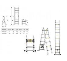 Лестница телескопическая 2-х секц. алюм. 156/320см, 2х5 ступ.