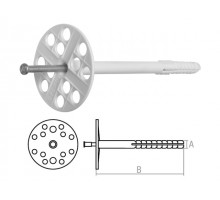 Дюбель для теплоизоляции 10х120 мм с металлич. гвоздем (100 шт в коробе)